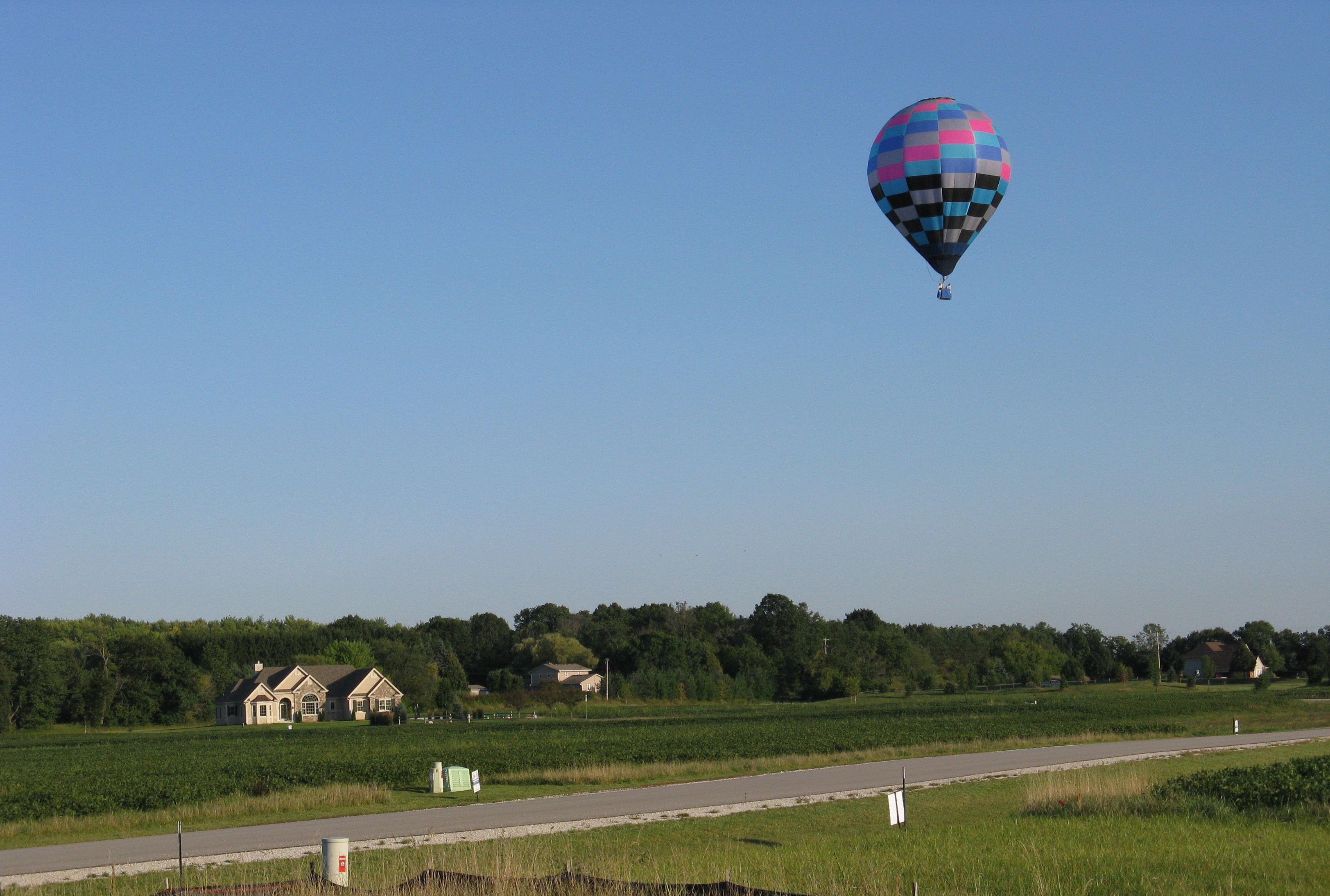 Gregg Schwalbach, hot air balloon over home